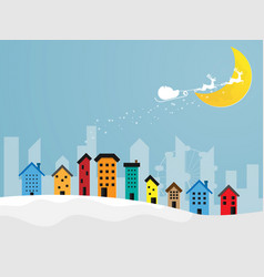 reindeer flying over colorful city with moon in vector image