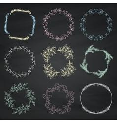 Set of Chalk Drawing Floral Borders Frames vector image vector image