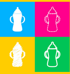 baby bottle sign four styles of icon on four vector image