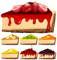 Cheesecake with different toppings vector image vector image