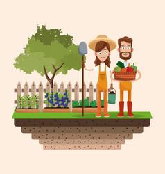 Couple farmers vegetable basket shovel badge vector