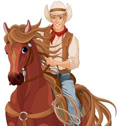 horse riding cowboy vector image