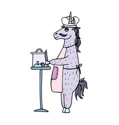 lovely hand-drawn unicorn-cook vector image