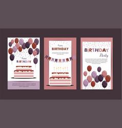 set happy birthday cards vector image