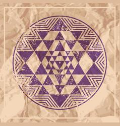 sri yantra symbol on paper vector image