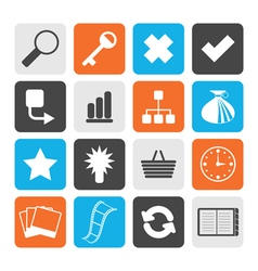 Black Simple Internet and Web Site Icons vector image