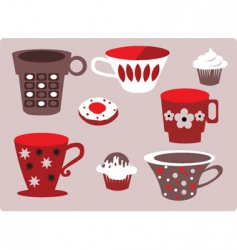 coffee and cupcakes vector image vector image