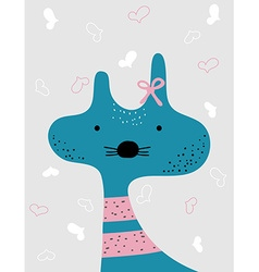 Cute kit isolated on grey Heart background vector image