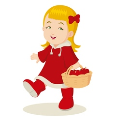 Girl With a Basket of Apples vector image