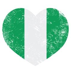 Nigeria retro heart shaped flag vector image vector image