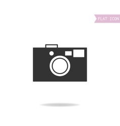 Photo camera flat black icon silhouette isolated vector image