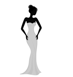 Silhouette of a girl in white evening dress vector image vector image