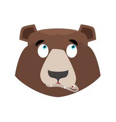 bear surprised emoji grizzly astonished emotion vector image vector image