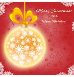 Christmas card with Christmas ball vector image vector image