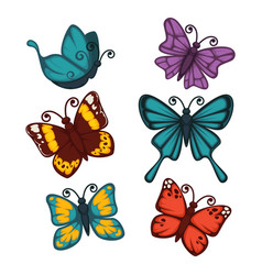 colorful butterflies collection isolated on white vector image vector image