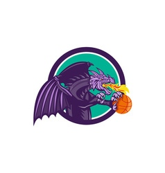 Dragon fire holding basketball circle retro vector