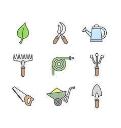 gardening tools icons vector image