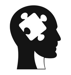 head with puzzle icon simple style vector image