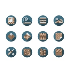 Linoleum store round flat icons set vector image vector image