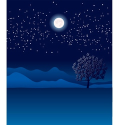 Lonely tree in night landscape vector image vector image