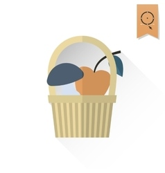 Mushroom and apple in a basket vector