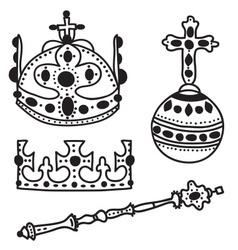 Set of crown jewels vector image