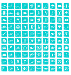 100 golf icons set grunge blue vector