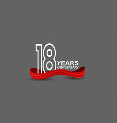 18 years anniversary line style white color vector