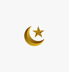 3d gold crescent moon with star design vector