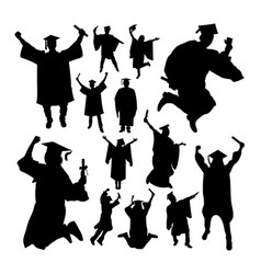 academic graduation silhouettes vector image