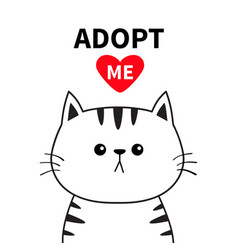 adopt me dont buy contour cat face silhouette red vector image