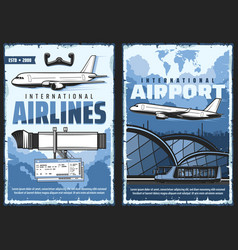 airport and airplane international flight posters vector image