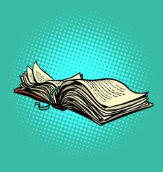 An open book lies vector