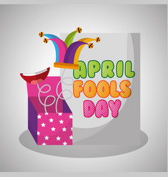 april fools day card with prank box jester hat vector image