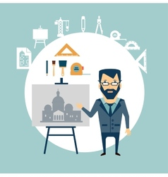 architect restoring old buildings vector image