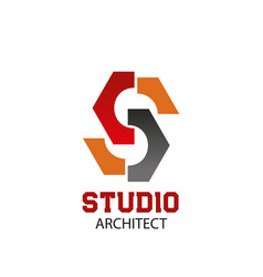 architect studio letter s icon vector image