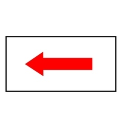 Arrow red sign white icon in white rectangle vector image