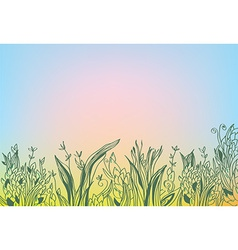 Autumn background with grass and glow vector image