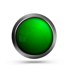 beautiful glass button in green color vector image