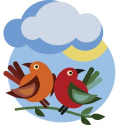birds under cloud vector image