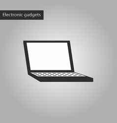 black and white style icon a laptop vector image