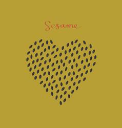Black sesame seeds in the heart shape vector