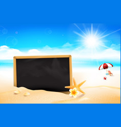 blank black board on the sand beach 002 vector image