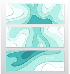 blue abstract layout - set paper cut vector image