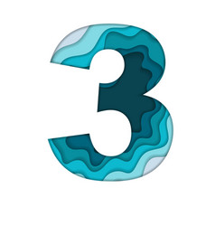 blue number three vector image