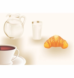 Breakfast with coffee and milk vector