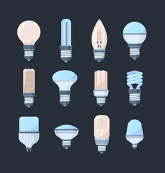 bulbs colored light set retro modern lamps round vector image