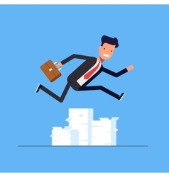 Businessman or manager jumping over obstacles vector image