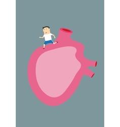 Cartoon man running on a large human heart vector image