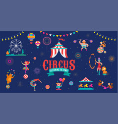 circus banner and background with tent monkey vector image